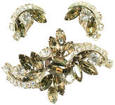 One Kings Lane Vintage Weiss Black Diamond Crystal Brooch Suite