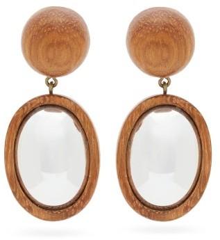 Rebecca De Ravenel Mirror Mirror Wooden Drop Earrings - Brown