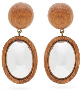 Rebecca De Ravenel Mirror Mirror Wooden Drop Earrings - Womens - Brown