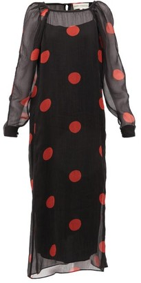 Mara Hoffman Elisabetta Polka-dot Crepon Midi Dress - Black Print