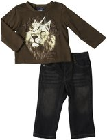 Buffalo Lion Tee & Denim Set (Baby) - Chocolate/Denim-24 Months