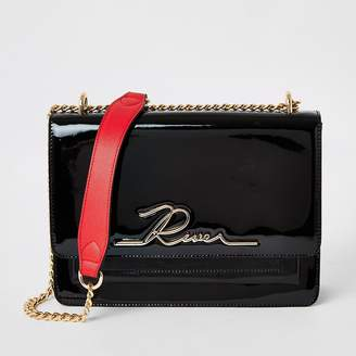 River Island Black patent 'River' satchel bag