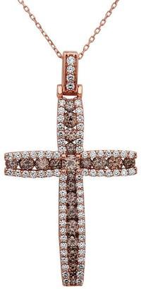Noray Designs 14k Rose Gold Champagne 3 2/5ct TDW White Diamond Cross Pendant