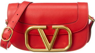 Valentino Supervee Vlogo Leather Shoulder Bag