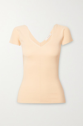 The Row Tain Ribbed Merino Wool And Cashmere-blend Top - Ivory