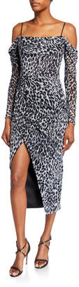 Rasario Animal-Print Chiffon Cold-Shoulder Wrap Dress