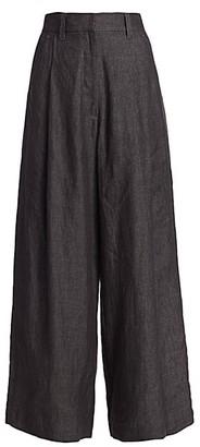 Brunello Cucinelli Chambray Linen Wide-Leg Pants