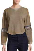 Free People Harper Cotton Embellished Sleeve Pullover