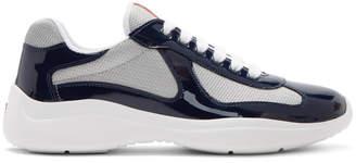 Prada Navy and Silver Vernice Americas Cup Sneakers