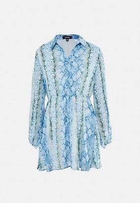 Missguided Blue Snake Print Smock Shirt Dress