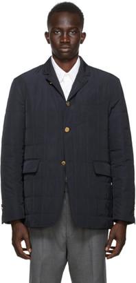 Thom Browne Navy Down RWB Stripe Sport Coat