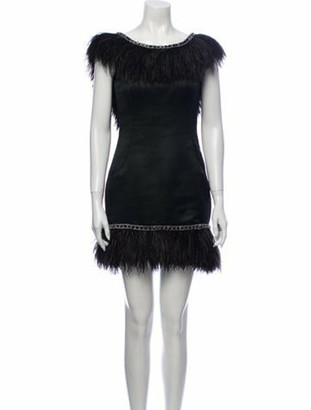 Marchesa Bateau Neckline Mini Dress Black
