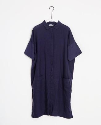 Beaumont Organic Natasha May Organic Cotton Linen Shirt Dress In Midnight - Midnight / Large