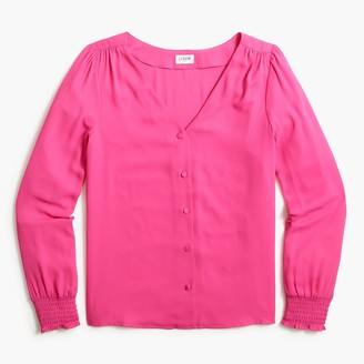 J.Crew Smocked-sleeve button-up top