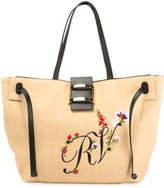 Roger Vivier Viv Flower-Embroidered Straw Tote Bag