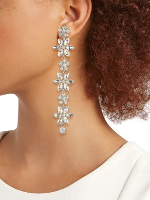 Kenneth Jay Lane Rhodium-Plated & Crystal Drop Earrings