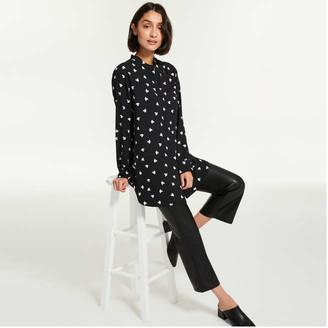 Joe Fresh Women's Mandarin Collar Tunic, Black (Size S)