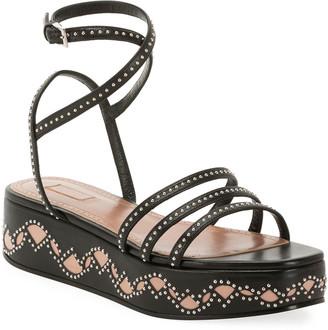Alaia 45mm Leather Flatform Sandals