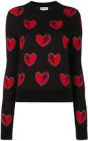 Saint Laurent Black Heart Embroidered Sweater
