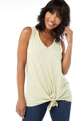 Liverpool Tie Front Tank w/ Seaming Detail (Light Sage) Women's Blouse