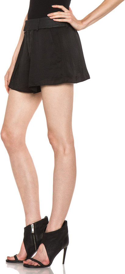 Helmut Lang Chroma Wide Leg Poly Short in Black