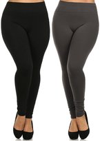 Leggings Mania 2-Pk Plus Size Fleece Lined Thick High Waist Leggings Black Grey