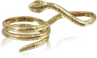 Two Fingers Bronze Ring w/3 Laps Snake
