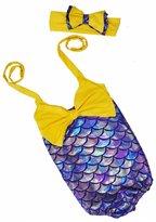 Alinfu Little Girls One-Piece Mermaid Fish Scale Bikini with Headband Princess Swimming Suit