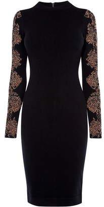 Karen Millen Snakeskin-Print Sleeve Dress