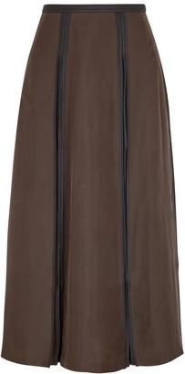 BODICE Brown Pleated Silk Midi Skirt