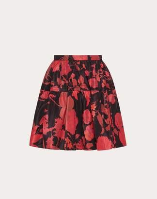Valentino Overdyed Micro Faille Skirt With Double Flower Print Women Black/ Red 38