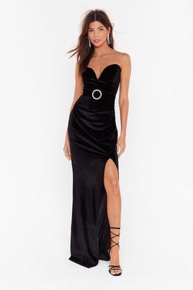 Nasty Gal Womens Total Eclipse of the Sweetheart Velvet Maxi Dress - Black