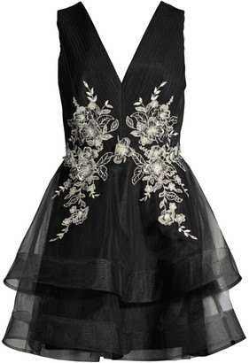 BCBGMAXAZRIA Tulle Embroidered Tiered Dress