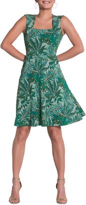 Neiman Marcus Eve Flared Jacquard Palm Dress