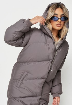 Missguided Petite Grey Long Puffer Coat