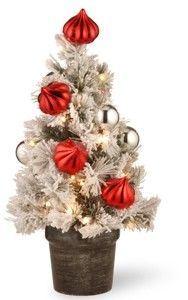 "National Tree Company 2' Snowy Bristle Pine Tabletop Trees with Red & Silver Ornaments in a 6"" Black/Silver Urn & 35 Warm White Battery Operated Led Lights w/Timer"