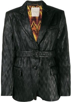 Marco De Vincenzo Belted Pleated Blazer