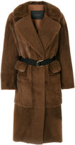 Blancha - multi-pockets long coat - women - Cotton/Leather/Mink Fur/metal - 38