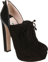 Miu Miu Pebbled Heel Lace-Up Ankle Boot