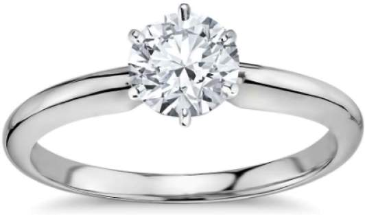 Blue Nile Platinum and .73ct Round Diamond Ring Size 5