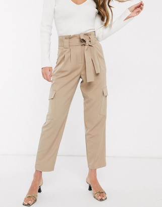 Y.A.S cargo trousers with paperbag waist in beige
