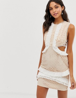 ASOS DESIGN mini dress with in lace with frill trim