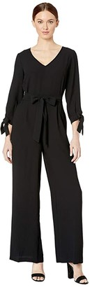 CeCe 3/4 Sleeve Moss Crepe Tie Sleeve Jumpsuit (Rich Black) Women's Jumpsuit & Rompers One Piece