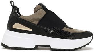 MICHAEL Michael Kors Metallic Mesh And Leather-paneled Sneakers