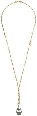 Annoushka 18kt yellow gold Mythology Hand Of Fatima diamond, sapphire and pearl pendant necklace