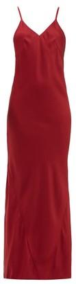 Haider Ackermann Kuiper V-neckline Satin-crepe Dress - Womens - Dark Red