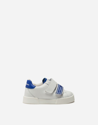 Dolce & Gabbana Portofino Light Sneakers In Calfskin With Logoed Grosgrain