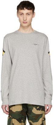 Off-White Off White Grey Long Sleeve Arrows T-Shirt