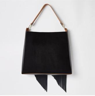 River Island Fringe Tassel Slouch Bag - Black