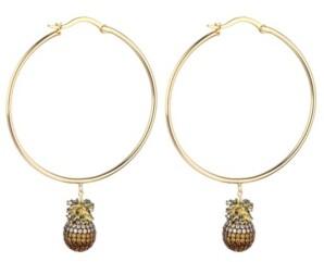 Noir Cubic Zirconia Pineapple Hoop Earring
